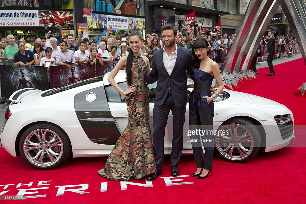 Tao Okamoto, Hugh Jackman and Rila Fukushima attend the UK Premiere of 'The Wolverine' at Empire Leicester Square on July 16, 2013 in London, England.