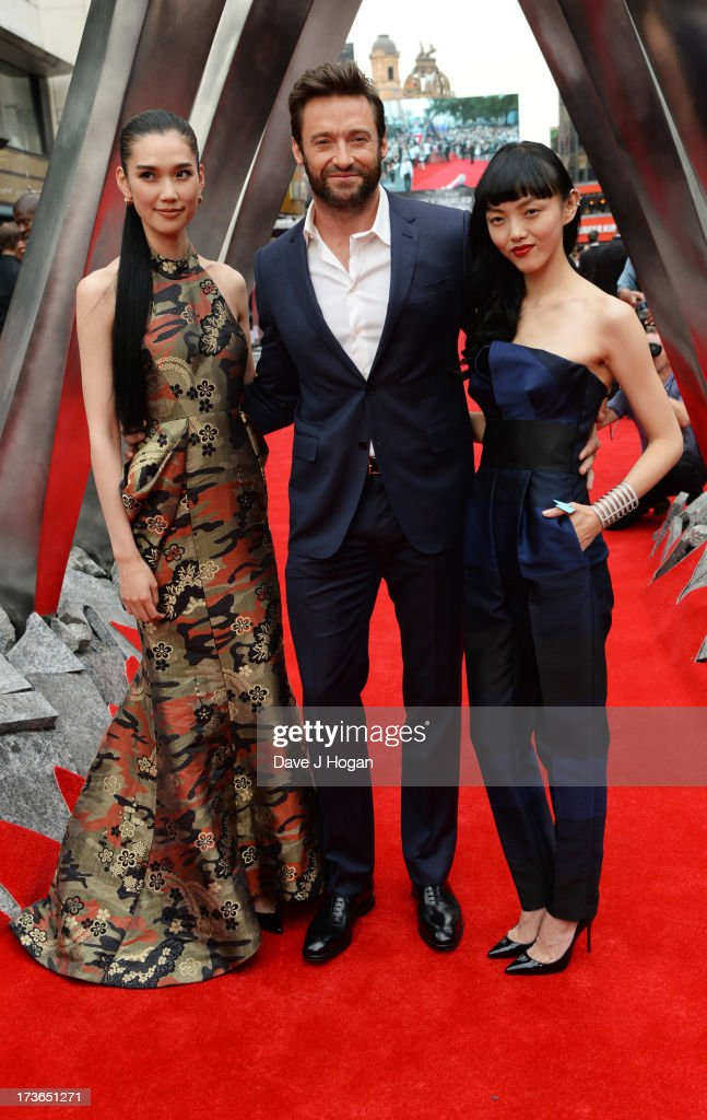 Tao Okamoto, Hugh Jackman and Rila Fukushima attends the UK premiere of 'The Wolverine' at The Empire Leicester Square on July 16, 2013 in London, England.