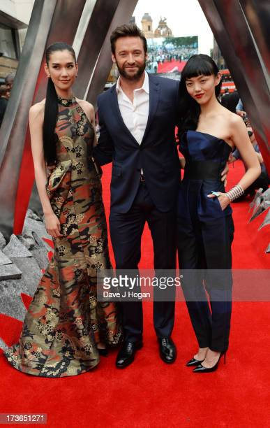 Tao Okamoto Hugh Jackman and Rila Fukushima attends the UK premiere of 'The Wolverine' at The Empire Leicester Square on July 16 2013 in London...