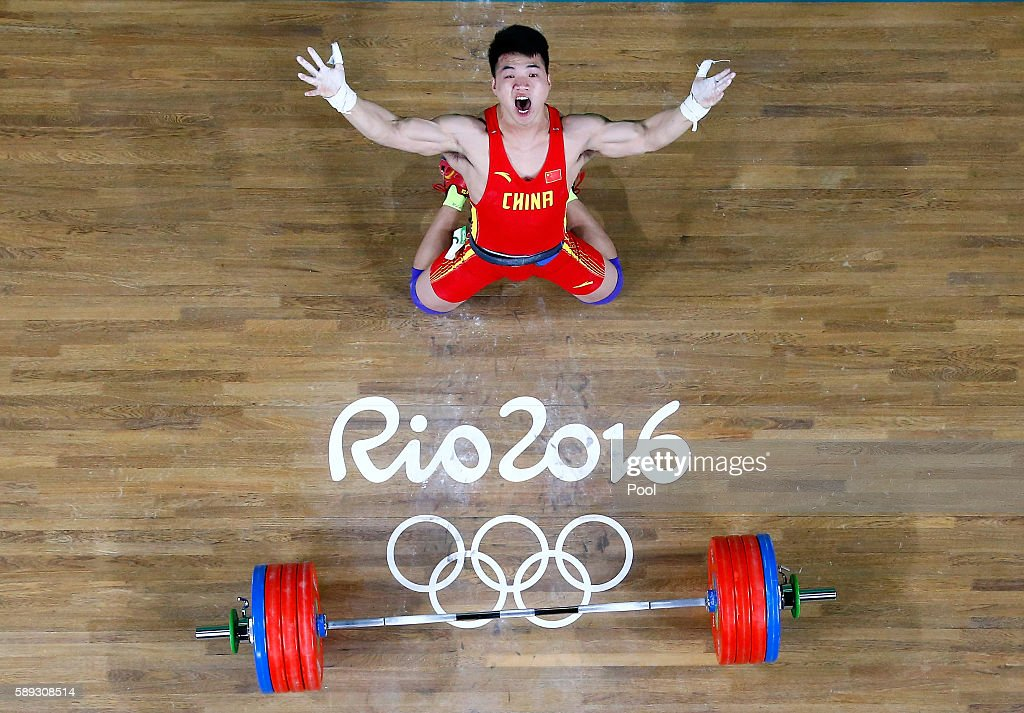 Tao Tian of China during the Weightlifting Men's 85kg on Day 7 of the Rio 2016 Olympic Games at Riocentro Pavilion 2 on August 12 2016 in Rio de...