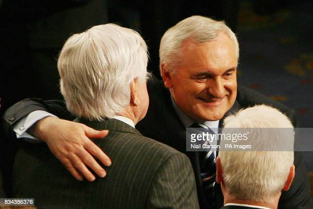 Taoiseach Bertie Ahern hugs Senator Ted Kennedy after his speech to the US House of Congress in Washington
