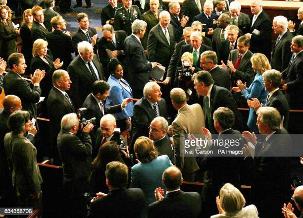 Taoiseach Bertie Ahern is mobbed by congress members after his speech at the US House of Congress in Washington