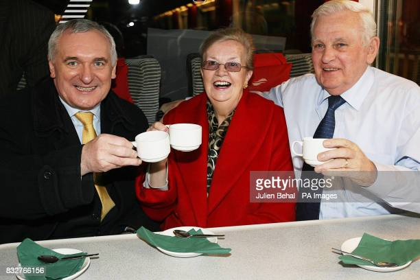 Taoiseach Bertie Ahern TD enjoying a cup of tea in Dublin's Connolly station with Edina and Seamus McGivern from Holywood Co Down to announce the new...