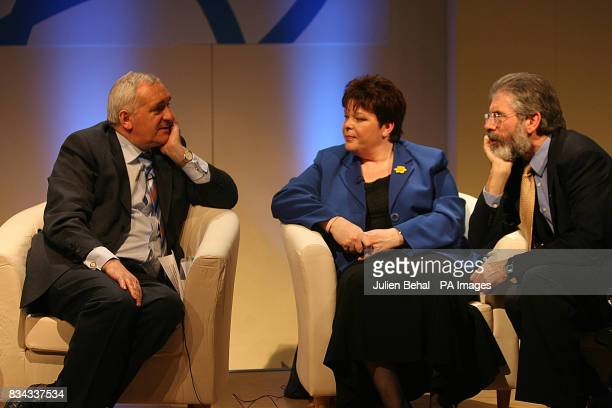 Taoiseach Bertie Ahern Progressive Unionist Party leader Dawn Purvis and Sinn Fein President Gerry Adams at a press conference on the tenth...