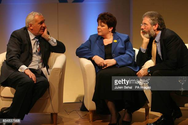 Taoiseach Bertie Ahern PUP leader Dawn Purvis and Sinn Fein's Gerry Adams pictured in Belfast where politicians who negotiated The Good Friday...