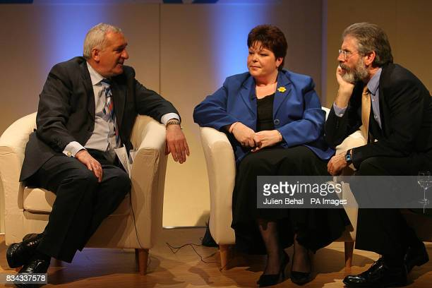 Taoiseach Bertie Ahern PUP leader Dawn Purvis and Sinn Fein's Gerry Adams pictured in Belfast Belfast where politicians who negotiated The Good...