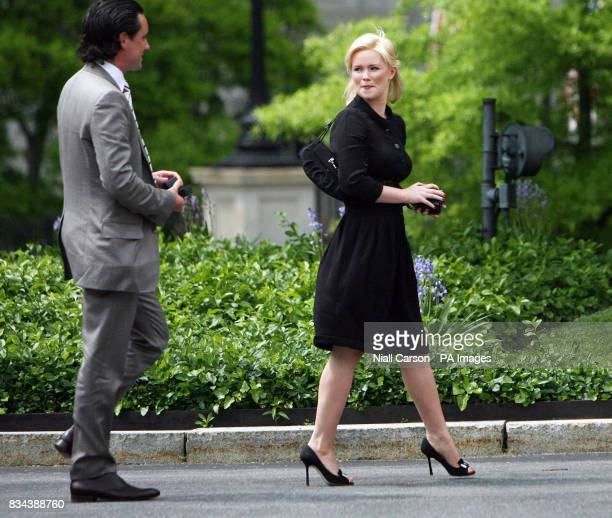 Taoiseach Bertie Aherns daughter Cecelia and partner David Keoghan leaving the White House in Washington after a meeting with President George W Bush
