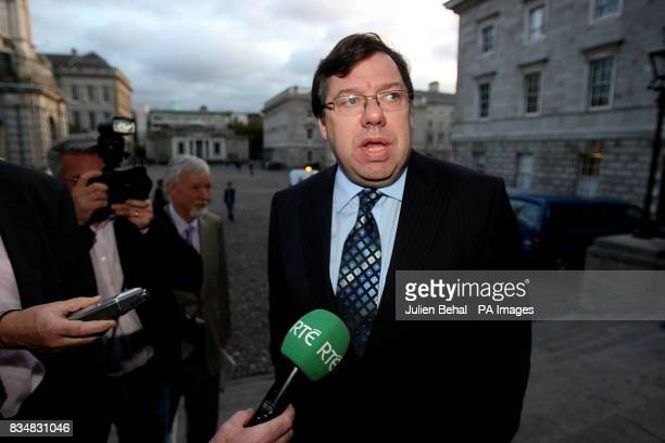 Taoiseach Brian Cowen addresses the IBECCBI Joint Business Conference in Trinity College Dublin on the day President Mary McAleese signed emergency...