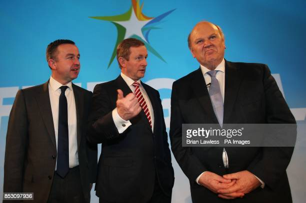 Taoiseach Enda Kenny TD with Minister of State for Public Service Reform and the Office of Public Works Brian Hayes and Minister for Finance Michael...