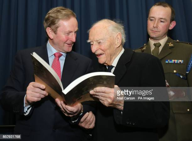 Taoiseach Enda Kenny former Taoiseach Liam Cosgrave and Commandant Padraig Kelly at the launch of the Military Service Pensions Collection of about...