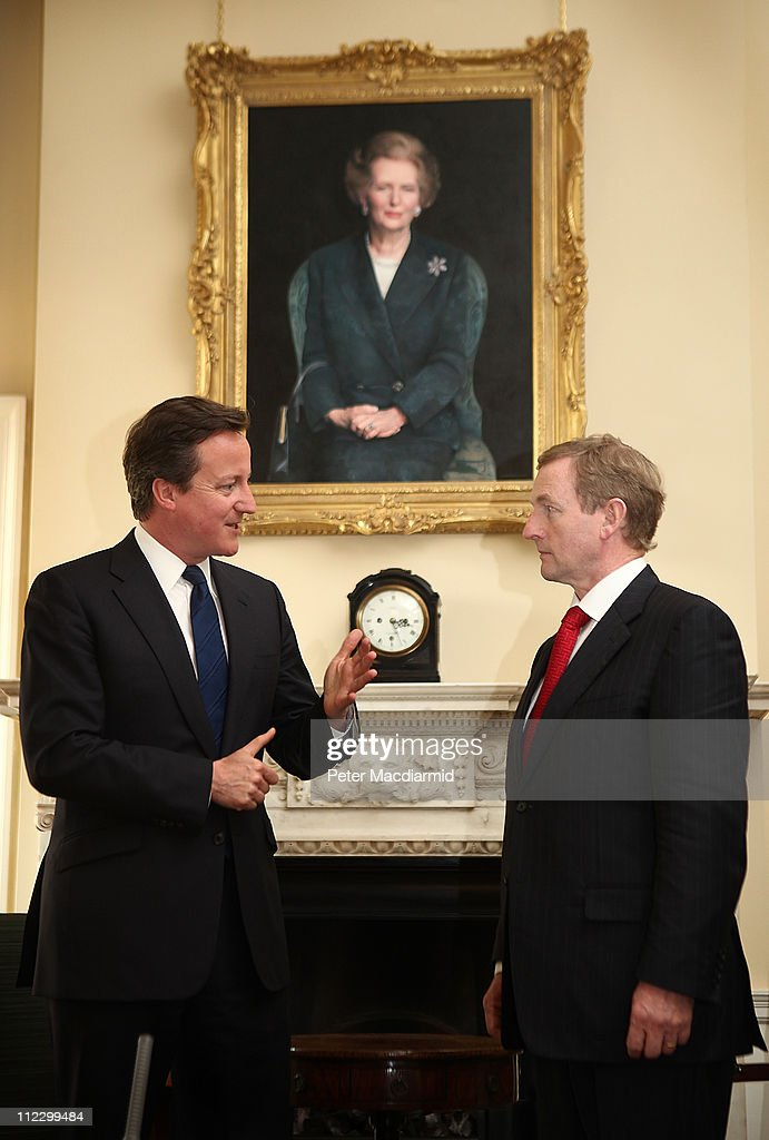 Taoiseach Enda Kenny meets with Prime Minister David Cameron under a portrait of former Prime Minister Margaret Thatcher at 10 Downing Street on...