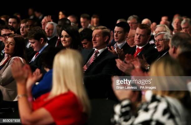 Taoiseach Enda Kenny receives applause at the Fine Gael ard fheis at the RDS Dublin