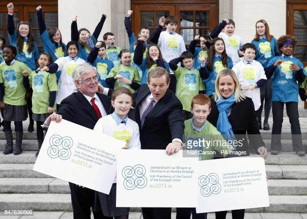 Taoiseach Enda Kenny Tanaiste Eamon Gilmore and European Affairs Minister Lucinda Creighton join students from Mother of Hope Senior National School...