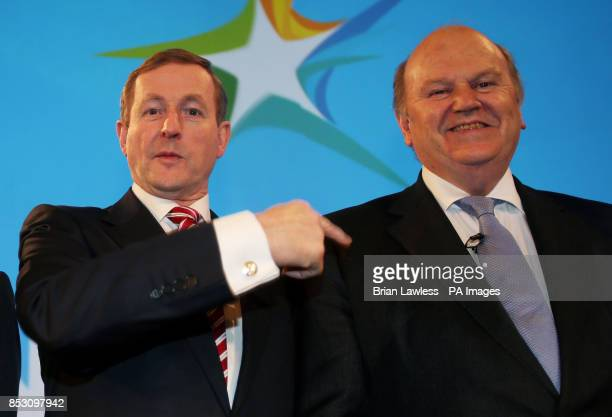 Taoiseach Enda Kenny with Minister for Finance Michael Noonan at the Fine Gael ard fheis at the RDS Dublin