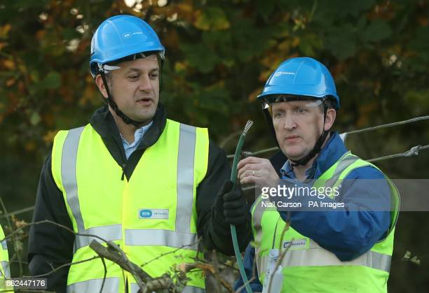 Taoiseach Leo Varadkar meets ESB Network workers in Kilcock Ireland as they clear fallen power lines after Hurricane Ophelia batterred the UK and...