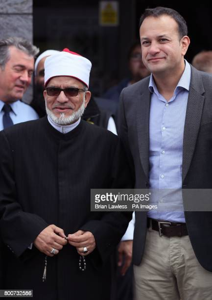 Taoiseach Leo Varadkar with Imam Hussein Halawa during a visit to an Islamic Cultural Centre in Dublin as Muslims mark the end of Ramadan with Eid...