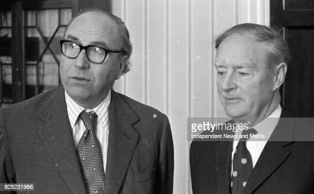 Taoiseach Liam Cosgrave and Roy Jenkins at Leinster House circa June 1977