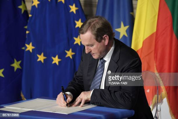 Taoiseach of Ireland Enda Kenny signs the new Rome declaration with leaders of 27 European Union countries special during a summit of EU leaders to...
