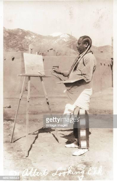 Taos Pueblo painter Albert Looking Elk born Albert Martinez circa 1930