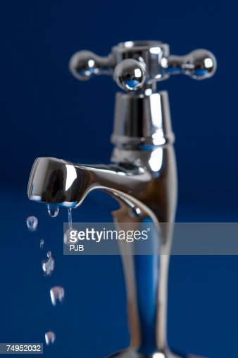 Tap Dripping Water Drops, close-up