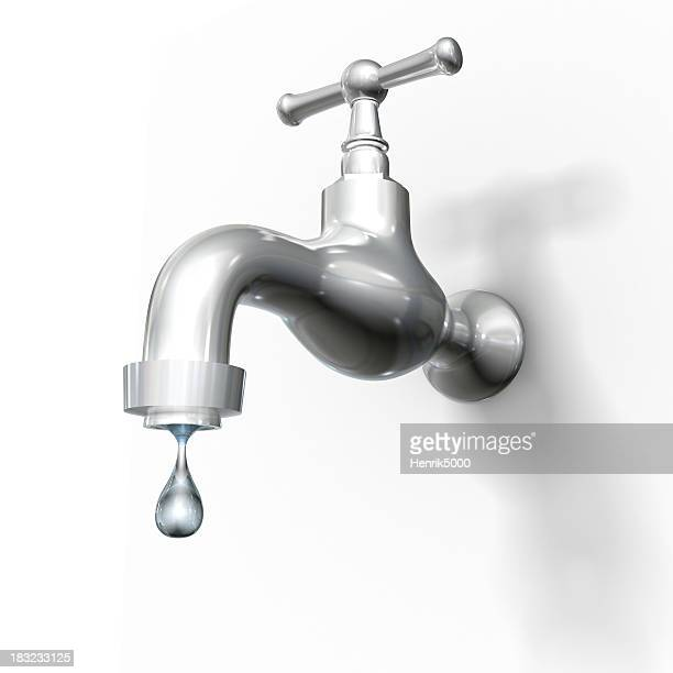 Tap with drop, isolated on white w. clipping path
