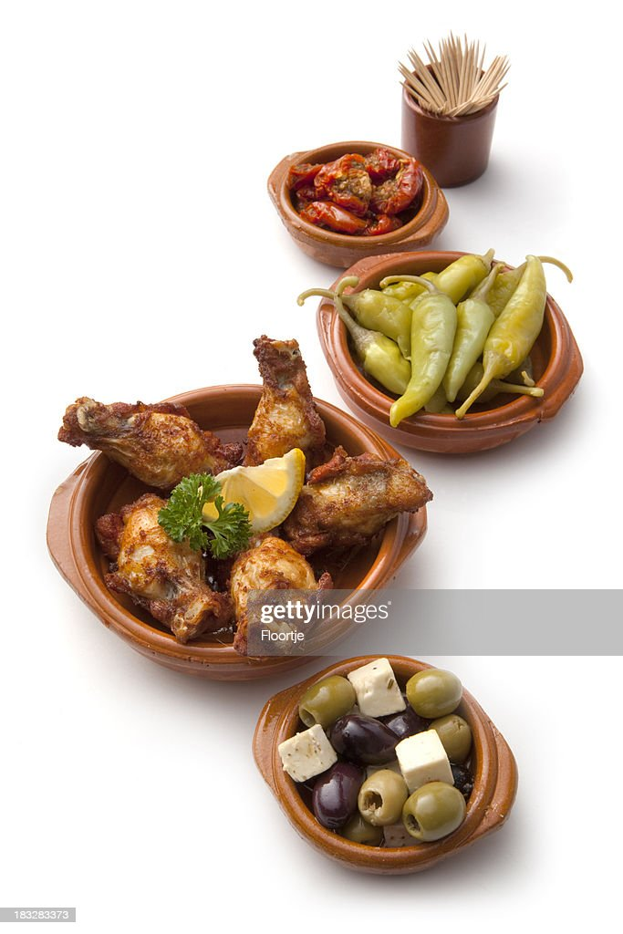 'Tapas: Chicken, Olives, Peppers and Dried Tomatoes'