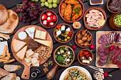 Top view of different tapas food recipes. Delicious table of foods.