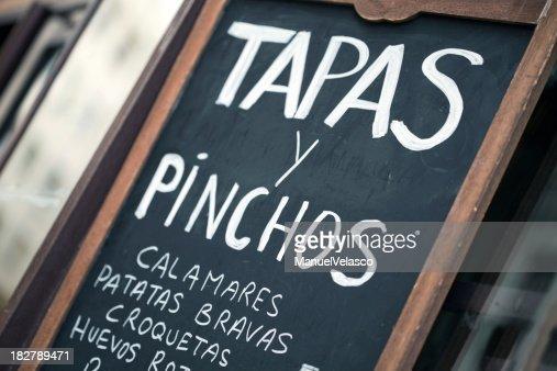 Con tapas Spanish bar chalkboard pinchos y