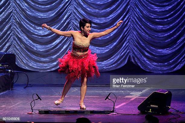 Tapdancer Sarah Reich performs in Postmodern Jukebox at Microsoft Theater on December 11 2015 in Los Angeles California