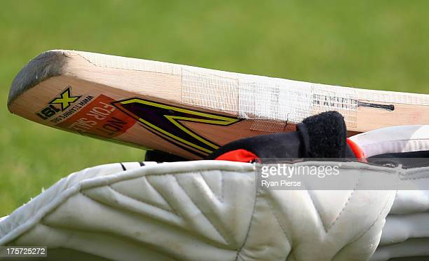 Tape is seen on a players bat during an Australian Nets Session at Emirates Durham ICG on August 7 2013 in ChesterleStreet England