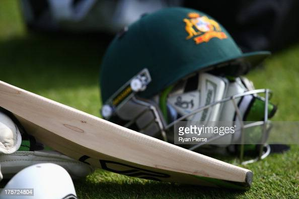 Tape is seen on an players bat during an Australian Nets Session at Emirates Durham ICG on August 7 2013 in ChesterleStreet England