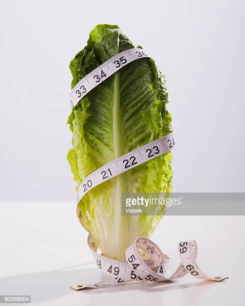 Tape measure wrapped around lettuce leaf