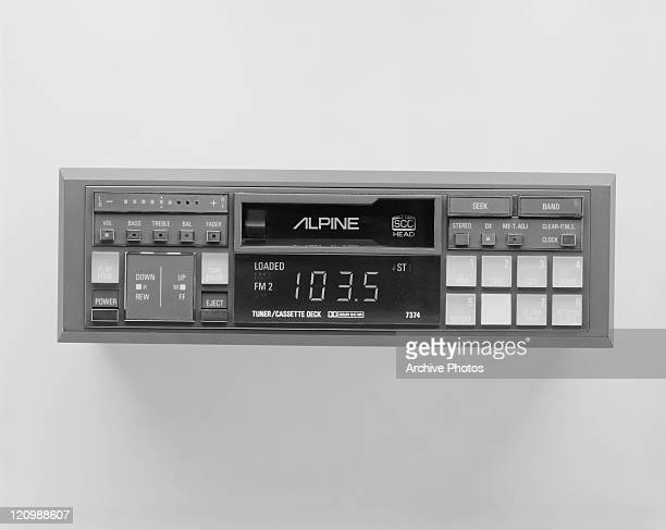 Tape recorder with radio on white background