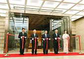 A tapecutting ceremony is held to mark the opening of the Tokyo Garden Terrace Kioicho commercial complex in Tokyo's Chiyoda Ward on July 27 2016 The...