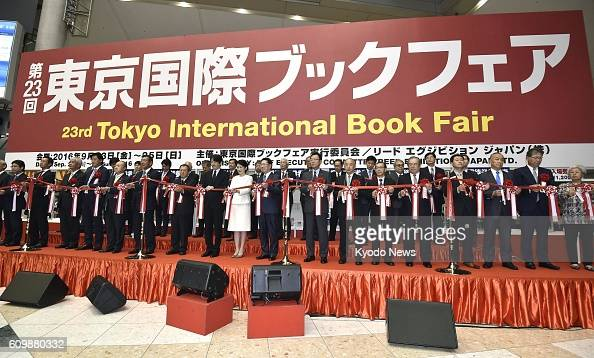 A tapecutting ceremony is held to open the Tokyo International Book Fair at Tokyo Big Sight on Sept 23 2016 The threeday event is expected to draw...