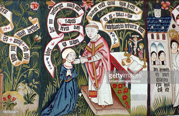 Tapestry about 1490 This image depicts a woman in fashionable dress undertaking a spiritual journey