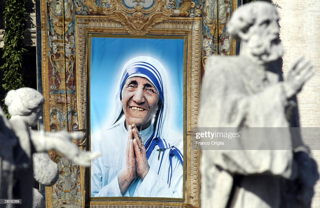 A tapestry depicting Mother Teresa framed by the statues of St. Peter's Colonnade during the beatification ceremony led by Pope John Paul II October 19, 2003 in Vatican City, Italy. Mother Teresa won the Nobel Peace Prize in 1979 for all of her charity work. She died in 1997.