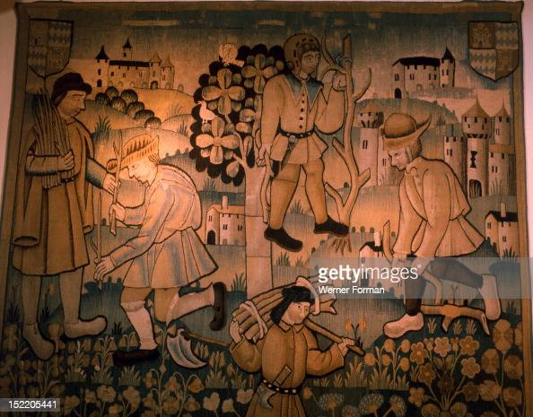 Tapestry depicting work in the vineyards Part of a very rare 5 pice tapestry set it was probably woven at Tournai France Period/Date 1st quarter of...