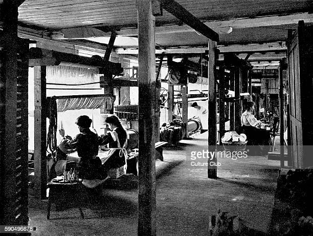 Tapestry looms at Merton Abbey Works / Merton Abbey Mills Merton London Part of Morris Co furnishings and decorative arts manufacturers and retailers...