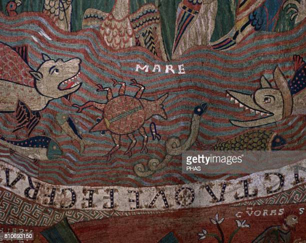 Tapestry of The Creation 11th century Detail Creation of fish Romanesque Capitular Museum of the Cathedral of Girona Catalonia Spain