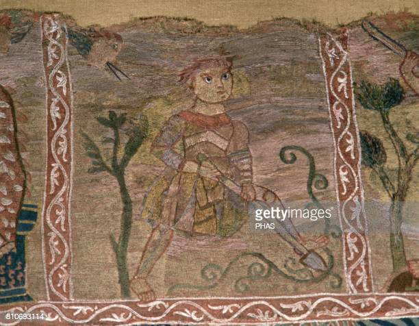 Tapestry of The Creation 11th century Detail The Spring Man digging the ground Romanesque Period Capitular Museum of the Cathedral of Girona