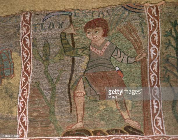 Tapestry of The Creation Detail Summer Man with farming tools Capitular Museum of the Cathedral of Girona