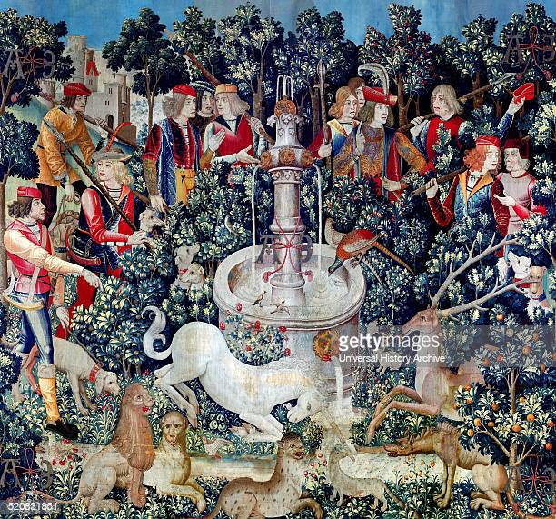 Tapestry titled 'The Unicorn is Found' Part of a series of seven tapestries depicting the hunt of a Unicorn Dated 16th Century