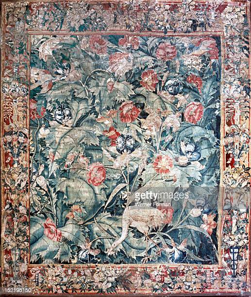 Tapestry with bird in exotic foliage