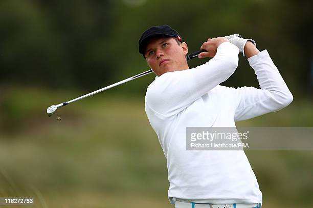 Tapio Pulkkanen of Finland in action during the first round of the matchplay stages of The Amateur Championship 2011 at Hillside Golf Club on June 15...
