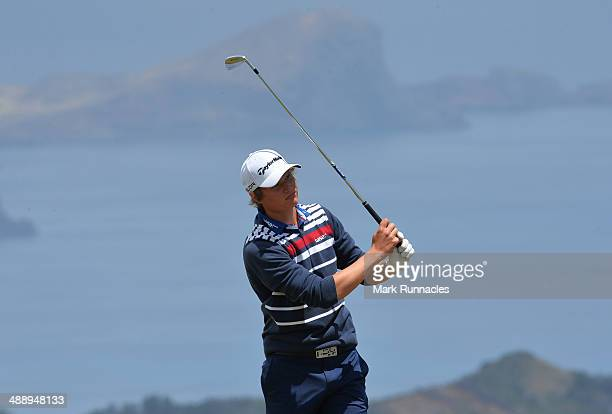 Tapio pulkkanen of Finland plays his tee shot from the 5th tee during the Madeira Islands Open Portugal BPI at Club de Golf do Santo da Serra on May...