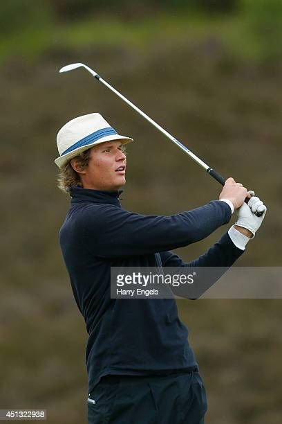 Tapio Pulkkanen of Finland plays off the fairway on day two of the 2014 Scottish Hydro Challenge hosted by MacDonald Hotels Resorts at Spey Valley...