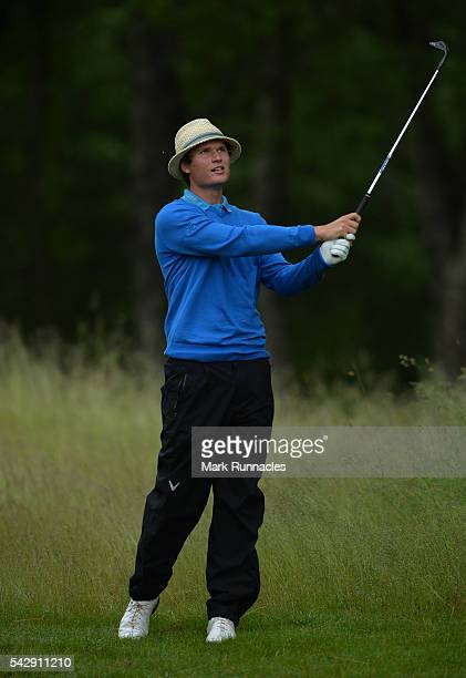 Tapio Pulkkanen of Finland second shot to the 1st during the third day of the 2016 SSE Scottish Hydro Challenge at the MacDonald Spey Valley Golf...