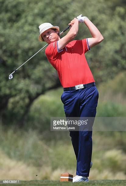 Tapio Pulkkanen of Finland tees off on the 10th hole during day one of the Challenge de Catalunya at the Lumine Golf and Beach Club on April 24 2014...