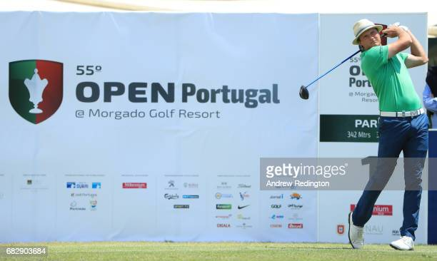 Tapio Pulkkanen of Finland tees off on the 1st hole during the final round on day four of the Open de Portugal at Morgado Golf Resort on May 14 2017...